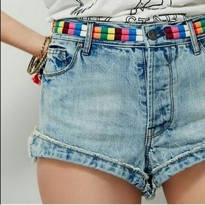 Free People Eliot Rainbow Shorts